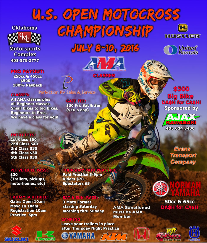 2016 US Open Motorcross Championship flyer